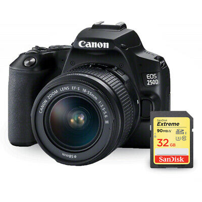Canon EOS 250D/Rebel SL3 with 18-55mm f/3.5-5.6 III Lens + Sandisk Extreme 32GB