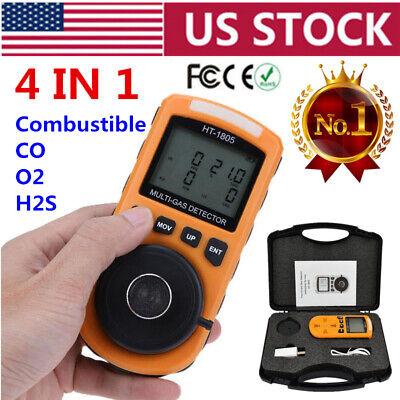 4 In 1 Gas Detector Co O2 H2s Lel Oxygen Lel Gas Monitor Analyzer Meter Us Stock