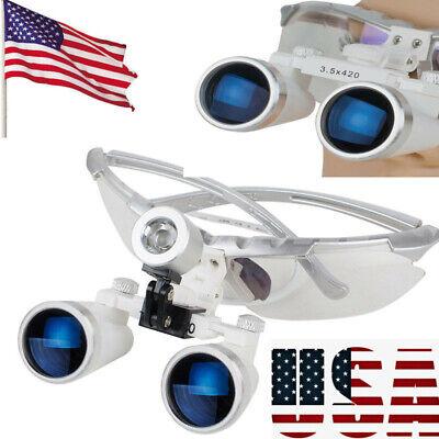 Dental Surgical Medical Binocular Loupes 3.5x 420mm Optical Glass Loupe Good Us