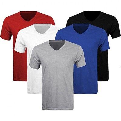 3-6 Pack Lots Men's Plain Slim Fit Plain V-Neck T-Shirts Muscle Tee Short Sleeve