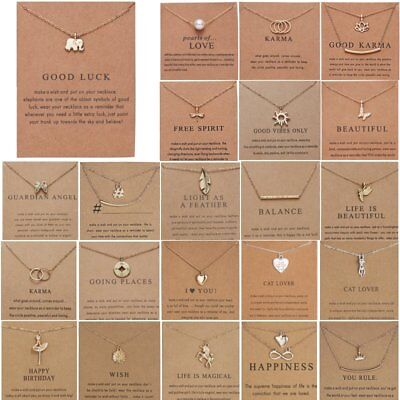 - Women Animal Owl Cat Clavicle Short Paper Card Necklace Pendant Gold Chain Gift