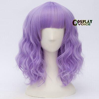 Ombre Light Purple Fringe Bangs Lolita  Curly Women Heat Resistant Cosplay Wigs Ombre Fringe