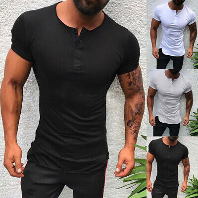 2019 Neue Männer Pure Farbe Kurzarm Slim Fit T-Shirt Lässig Bequeme Tops - Bequem Kostüm Männer