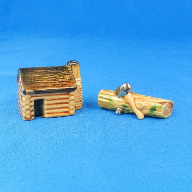 Arcadia Ceramics LOG CABIN & LOG Vintage Miniature Salt & Pepper Shaker Set