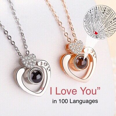 100 Languages Projection I Love You  Heart Pendant Necklace Girlfriend Wife N152