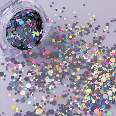 Nail Art Holographic Sequins Glitter Heart Moon Star Butterfly Colorful Flakes - Heart Glitter