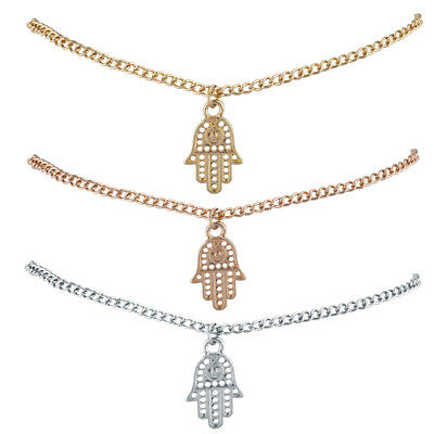 Lux Accessories Silver Gold Rose Gold Tones Hamsa Evil Eye Anklet Trio Pack ()