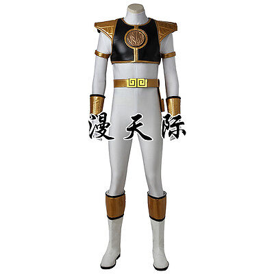 Weiße Mighty Morphin Power Ranger-kostüm (Mighty Morphin Power Rangers ZYURANGER Tommy white Weiß Cosplay Kostüm Costume)