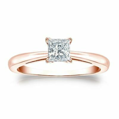 GIA Certified 0.50 Cts F/VS1 Princess Cut Natural Diamond Ring In Solid 18K Gold