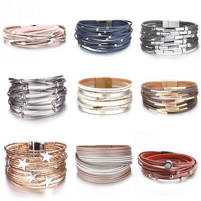Women Alloy Tube Crystal Stars Multi-layer Leather Bangle Wrap Bracelets Jewelry](Tube Bracelet)