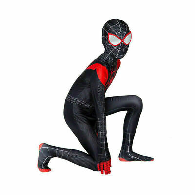 Spiderman Costume Children (Miles Morales Spider-Man Cosplay Costume Jumpsuits Unisex Kids Spandex)