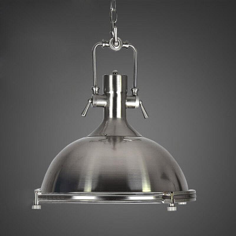 Industrial Ceiling Light Round Dome Vintage Barn Silver Pendant Lamp Decor Light Ebay