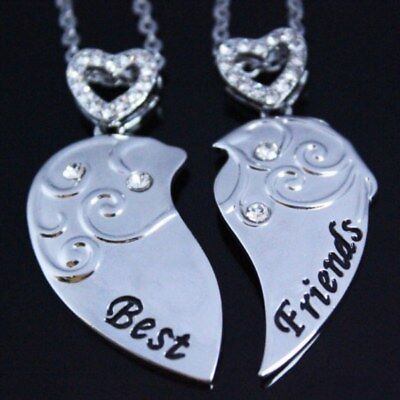 Split Best Friends Heart Necklaces Xmas Gifts For Her Daughter Sisters Mum