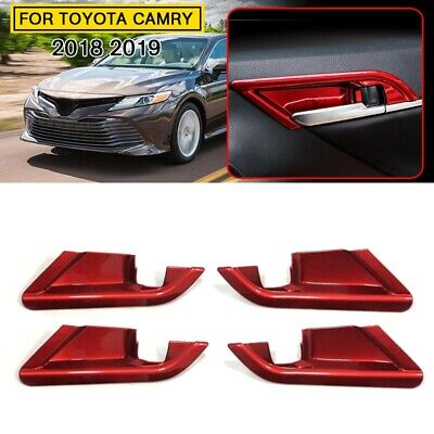 4pcs Red ABS Car Interior Door Handle Bowl Cover Trim for Toyota Camry 2018 2019
