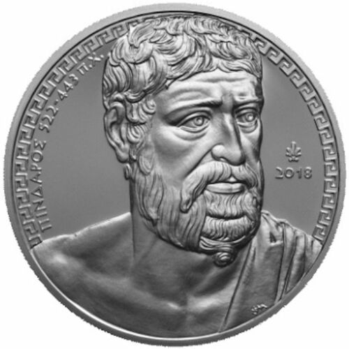 """2018 Greece € 10 Euro Silver Proof Coin """"Greek Culture: Pindar of Thebes"""""""