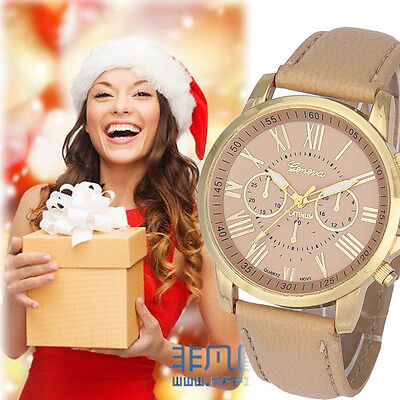 Women's Fashion Roman Numerals Watch Faux Leather Analog Quartz Wrist Watches