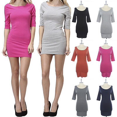 Simple Solid Half Sleeve Bodycon Mini Dress Wide Round Neck Stretch Cotton S M L
