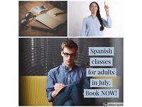 Spanish classes for adults in July.