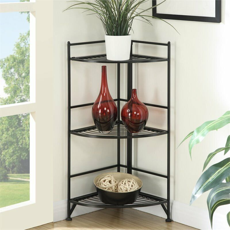 Convenience Concepts Designs2Go Corner Plant Stand in Black Metal Frame Finish