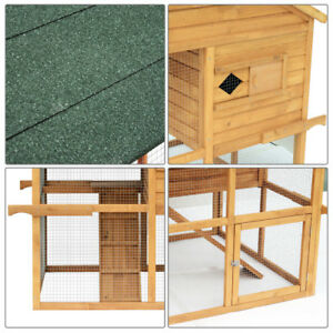 """53"""" Wood Two-tier Chicken Coop Rabbit Hutch Poultry Cage Pet Sup"""