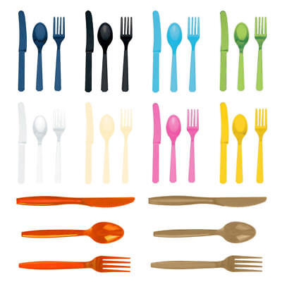 3 Piece Multi Colors Convenient Plastic Cutlery Set Combo Pack Forks And Knives