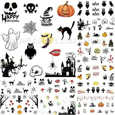 12 sheets Halloween water transfer nail art stickers decals pumpkin skull design - Halloween Nail Designs