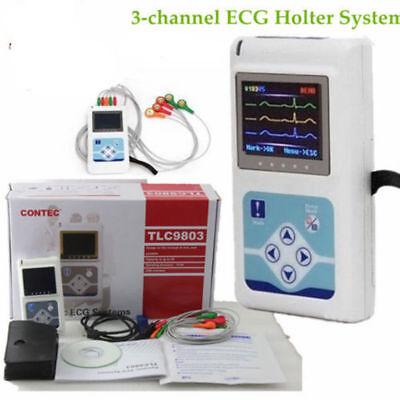 24h 3-channel Ecgekg Holter Software Sleeping Recorder Monitor System Analyzer