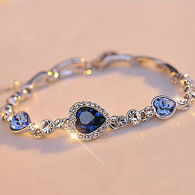 HOT Fashion Women Girls Blue Crystal Jewelry Silver Plated Charm Bracelet - Girls Charm Bracelet