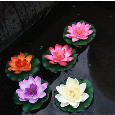 Künstliche schwimmende Lotus Seerose Aquarium Dekor Ornament FBB W0HWC