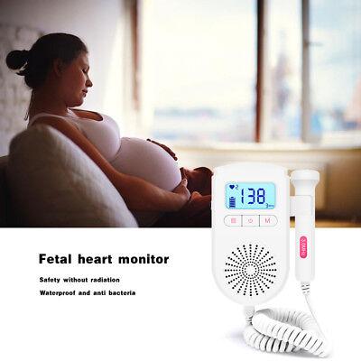 Pocket Fetal Doppler Prenatal Baby Heart Rate Meter Household Beat Monitor Us Pj