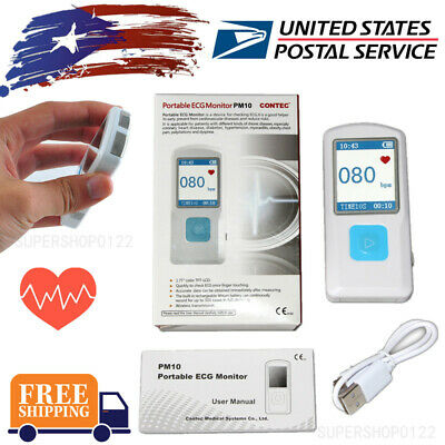 Usa Pm10 Portable Ecg Monitor Bluetooth Handheld Heartcardiac Monitor Lcd Usb