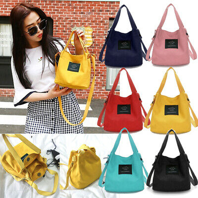 Women Small Canvas Handbag Shoulder Bag Cross Body Hobo Tote Shopping Satchel - Small Totes