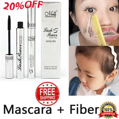 4D Silk Fiber Eyelash Mascara Extension Makeup Waterproof Kit Eye Lashes Black @