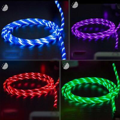 USA Flowing LED Light UP Micro USB Data Sync Charger Cable F