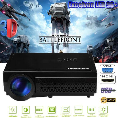 3D Beamer Full HD 1080P 5000Lumen LED Projektor Projector HDMI*2/USB*2/VGA/TV DE