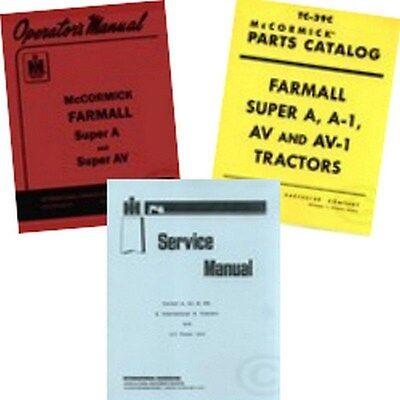 Farmall Super A Av Service C-113 Operators Parts Manual