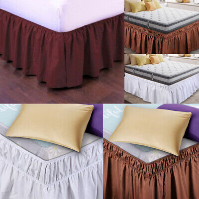 "Pleated Bed Skirt Polyester Wrap Around Dust Ruffle 15"" Drop Elastic Bedding Bed"
