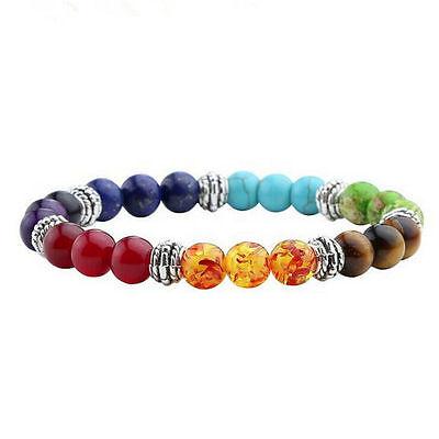 Seven 7 Chakra Stone Bead Mala Bracelet Reiki Yoga Healing Beaded Boho Jewelry (Bead Bracelet)
