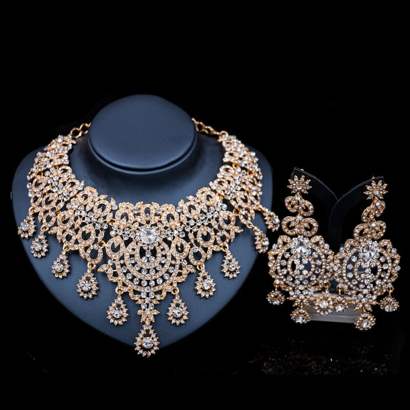 Fashion Luxury Crystal Statement Women Bib Necklace Earring Wedding Jewelry Sets