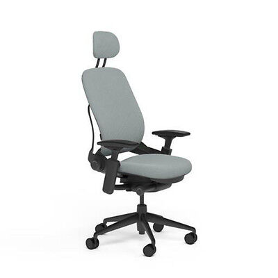 Steelcase leap chair headrest - Steelcase Adjustable Leap Desk Chair Headrest Alpine Buzz2 Fabric