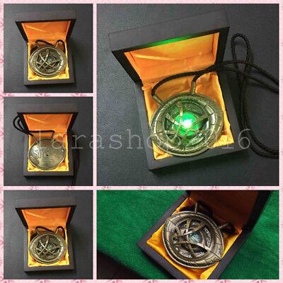 Dr Doctor Strange Eye of Agamotto Amulet Cosplay Alloy Necklace With LED Light