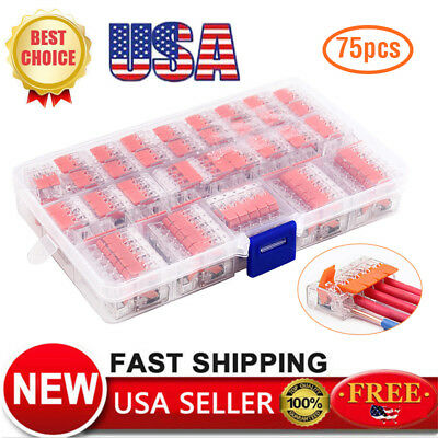 75pcs 221 Reusable Spring Lever Terminal Block Electric Cable Connector Wire Us