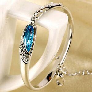 Mujeres-Pulsera-Azul-Cristal-925-Plata-Joyeria-Brazalete-Bracelet-Elegante
