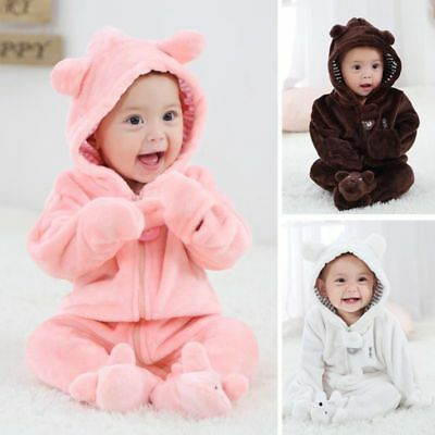 Newborn Baby Infant Kid Boy Girl Romper Hooded Jumpsuit Bodysuit Outfits Clothes - Boys Kids Outfit