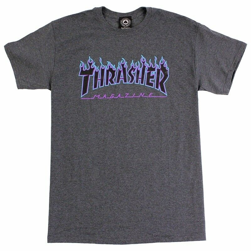 Thrasher Magazine FLAMES LOGO Skateboard Shirt DARK HEATHER XXL