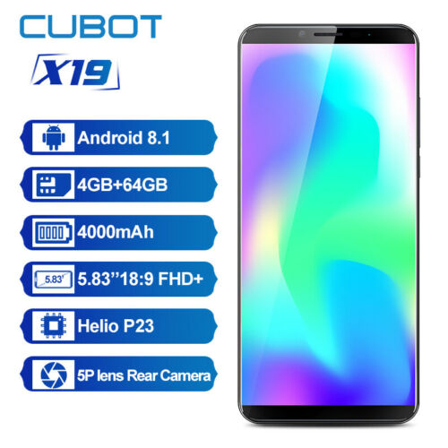 "Android Phone - CUBOT X19 5.93"" Android 8.1 Helio P23 4GB RAM 64GB ROM 4G Smart Phone Dual SIM"