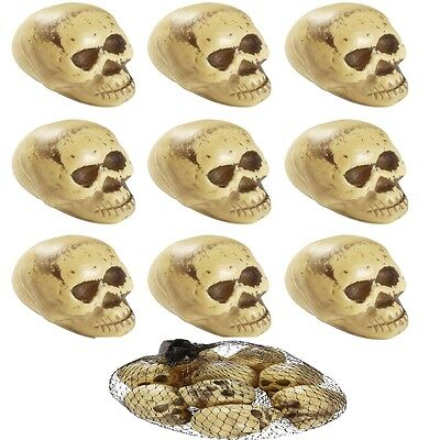 9x HALLOWEEN TOTENKÖPFE IM NETZ Totenkopf Halloween Horror Party Deko 8705