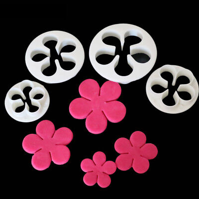4PCs Rose Flower Cookie Plunger Cutter Sugarcraft Fondant Cake Baking Mold Tool