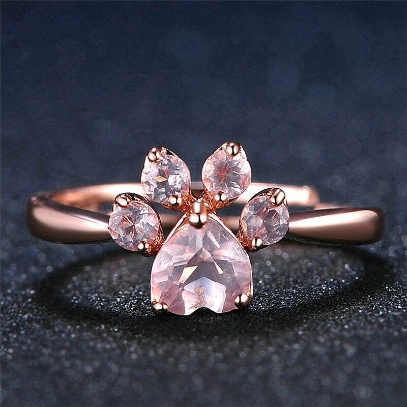 Rose Gold Crystal Zircon Quartz Paw Print Ring Adjustable Je