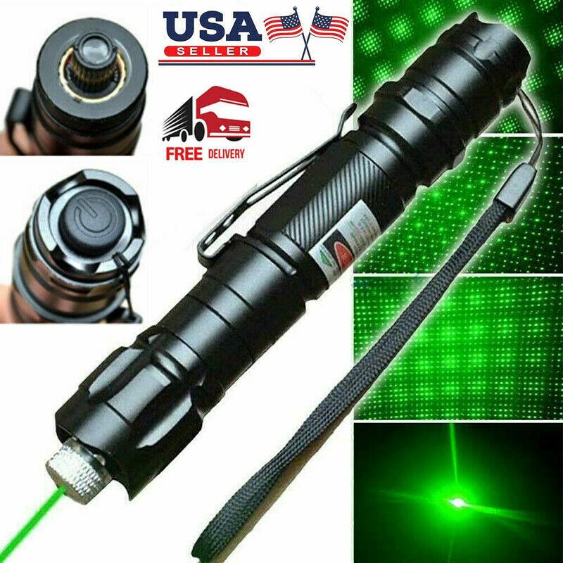 900 Miles 532nm Green Laser Pen Pointer Visible Beam Light 18650 Lazer+ Star Cap